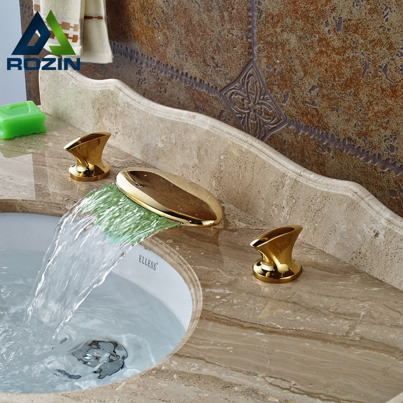 Modern Led Color Changing Waterfall Bathroom Tub Faucet Dual Handles Brass Mixer Tap Golden Color