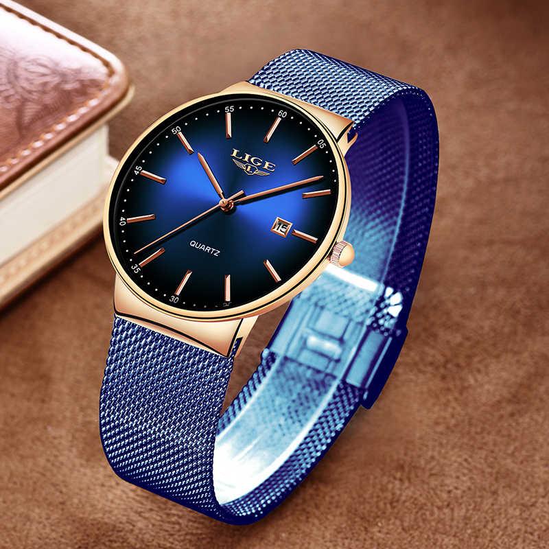 Montre Femme LIGE nouveau luxe dames Montre mode Simple montres femmes maille ceinture Quartz Montre femmes horloge Relogio Feminino