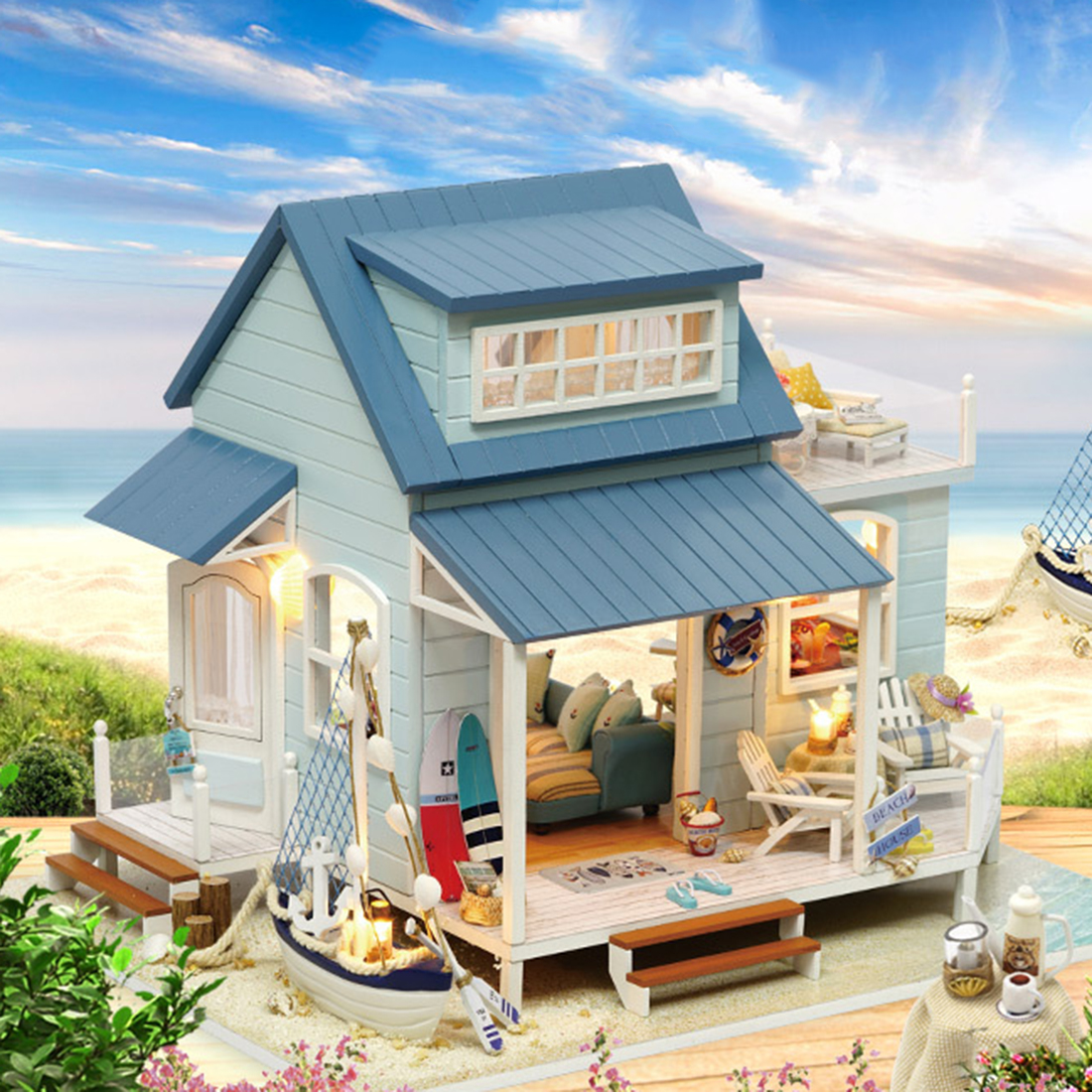 DIY Doll House Wooden Doll House Miniature dollhouse Furniture Kit Toys for Kids Christmas Gift Caribbean