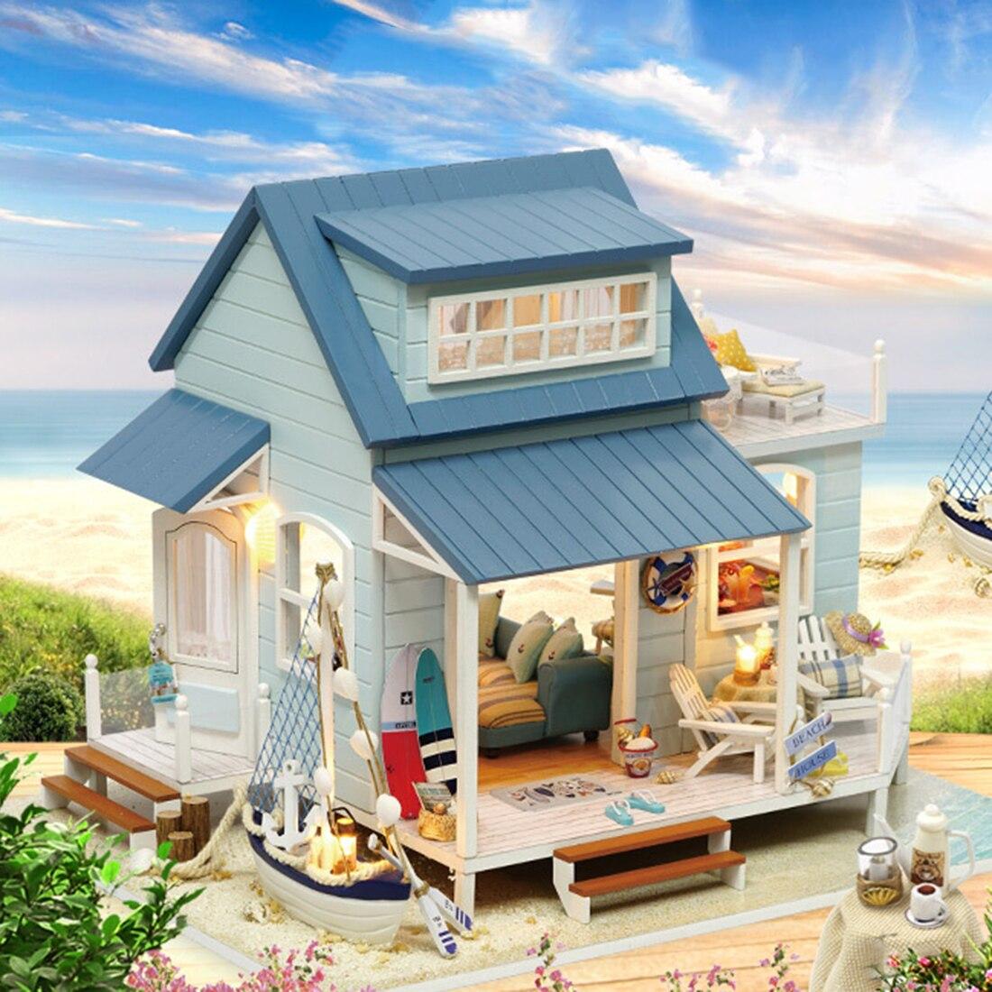 Dom dla lalek DIY drewniany domek dla lalek miniaturowe mebelki do domku dla lalek zestaw dla dzieci zabawki dla dzieci prezent na Boże Narodzenie morze karaibskie kreatywny zestaw do domu w Domy dla lalek od Zabawki i hobby na AliExpress - 11.11_Double 11Singles' Day 1