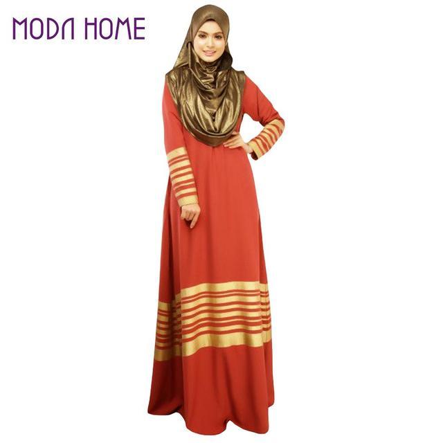 Autumn Women Muslim Maxi Dress Stripe Zipper Long Sleeves Abaya Kaftan Islamic Robe XL Long Dress Orange/Black Islamic Clothing