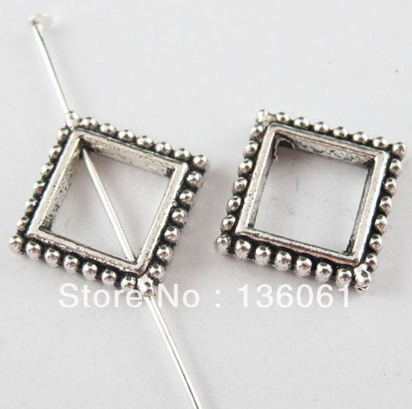 Vintage Silver Square Dots Square Spacer Beads Frame Connectors For Jewelry Making Findings Bracelets Gifts Hot Z2212