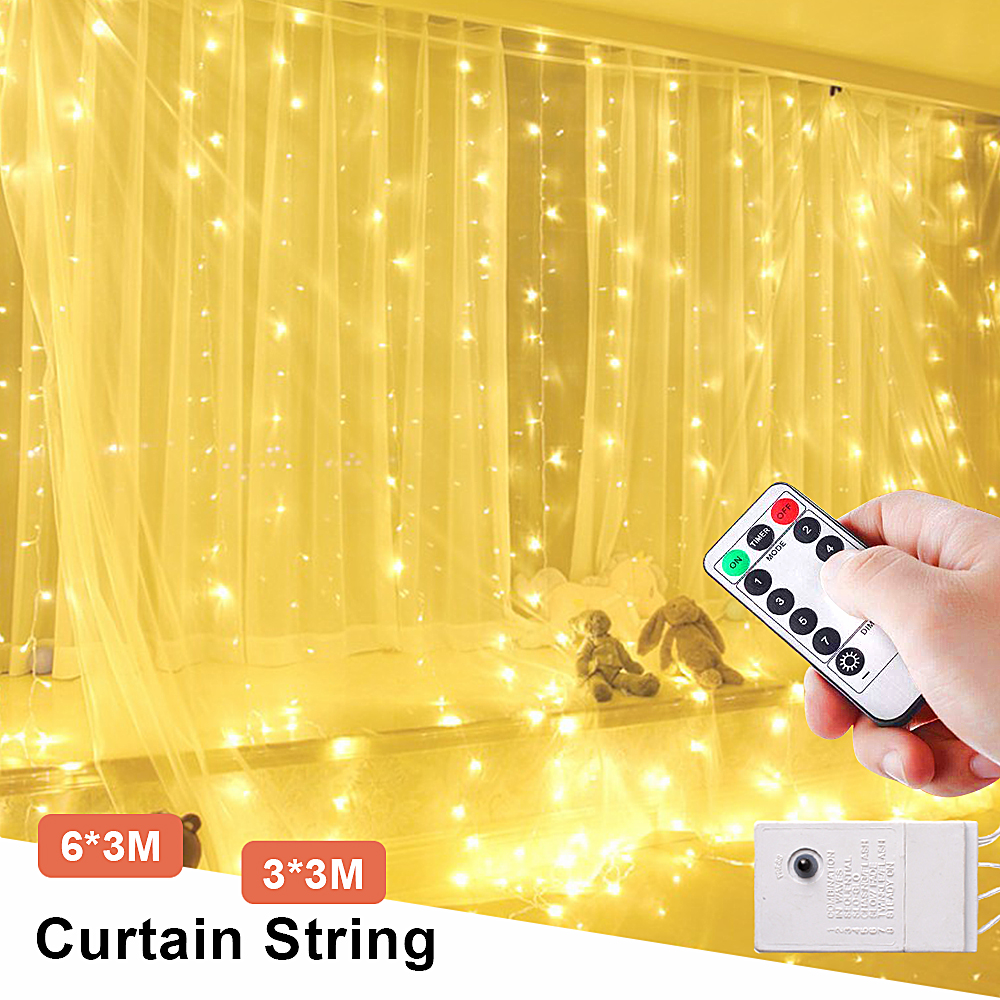 3x3/6x3 Remote Control Curtain LED Icicle String Fairy Christmas Light Outdoor/Indoor Decor LED Garland Street Wedding Valentine