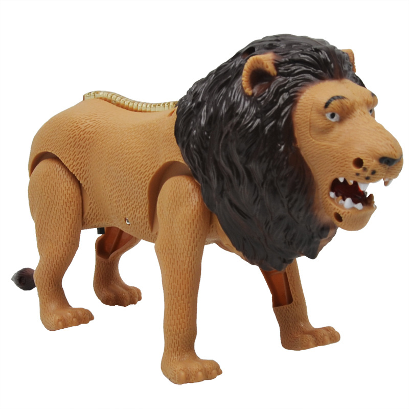Simulation Electric Lion Plastic Forest Animal Model Sound And Light Will Walking Small Lions Children Electric Toy Gift