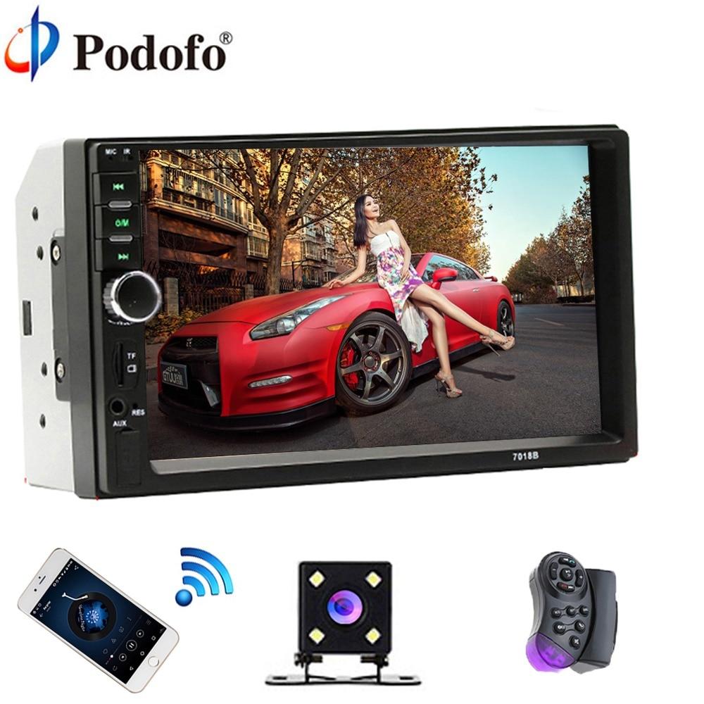 "Podofo 2 Din Voiture Radio Bluetooth 2din Voiture Lecteur Multimédia 7 ""HD Tactile Autoradio MP5 USB Audio Stéréo Avec arrière Vue Caméra"