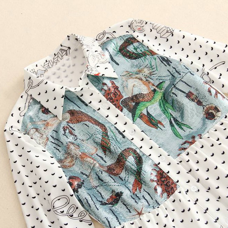 Alta Qualidade 2018 Outono Nova das Mulheres Vestido com Estampa Étnica Vestido de Trabalho de Escritório Vestido Da Senhora Longo Estilo Camisa de Manga Longa maxi vestido de Festa - 4