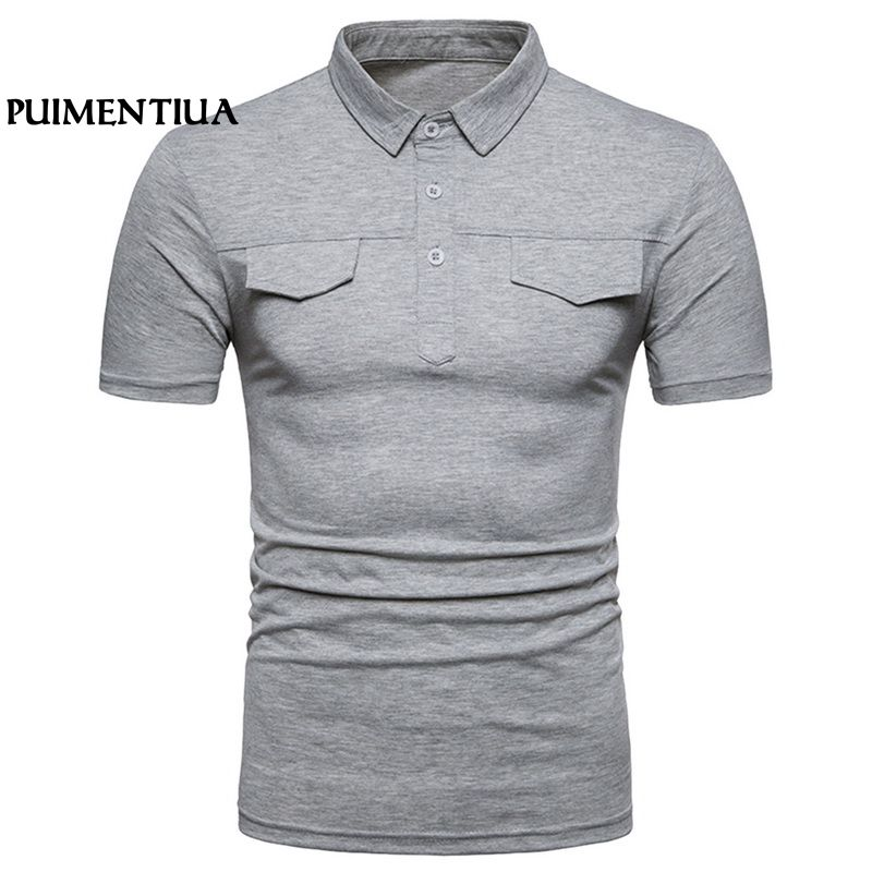 Puimentiua Summer Basic   Polo   Shirts Buttons Men Short Sleeve Turn-down shirt Casual Tee for Male Patchwork Camisetas Hombre