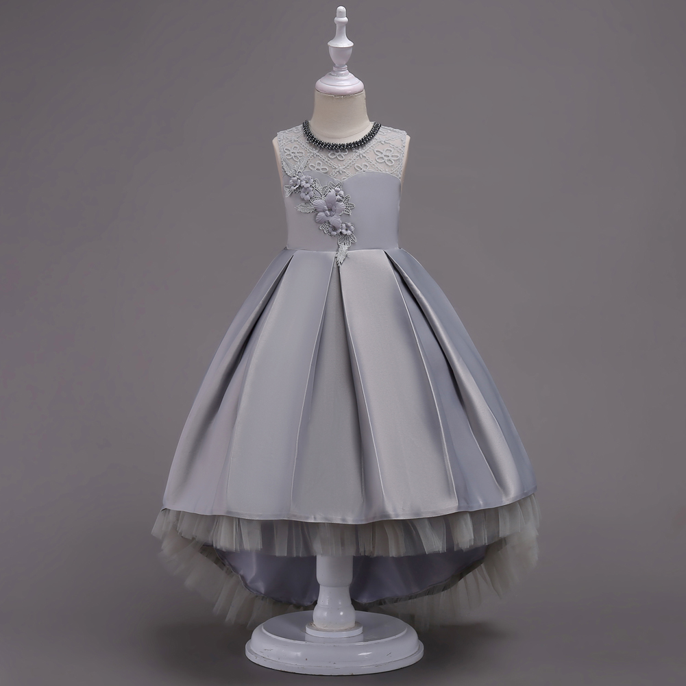 X082 Children Jewelled Prom   Dress   Short Front Long Back Grey   Flower     Girl     Dress   for 4 To 14 Years Kids