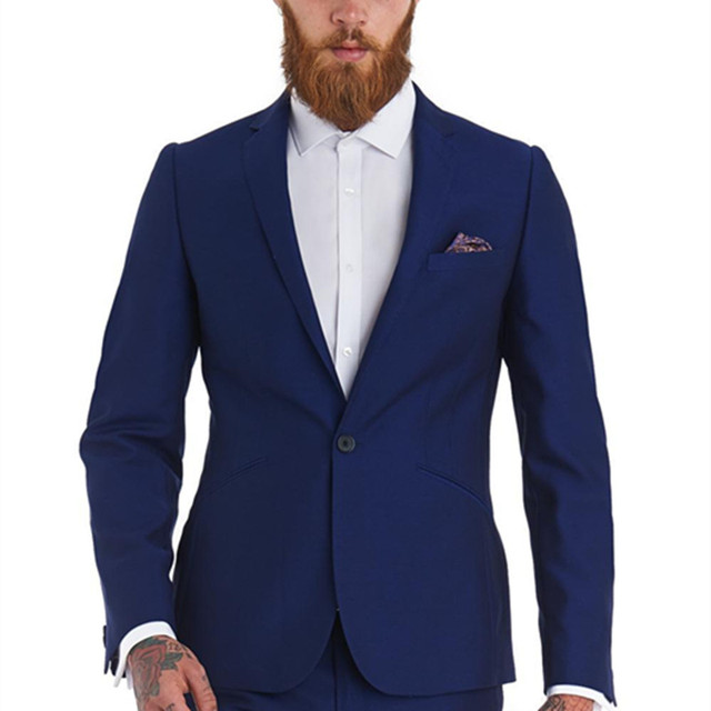 2017 New Style Hot Sell Blue One Button Suits Groom Tuxedos Men\'s ...
