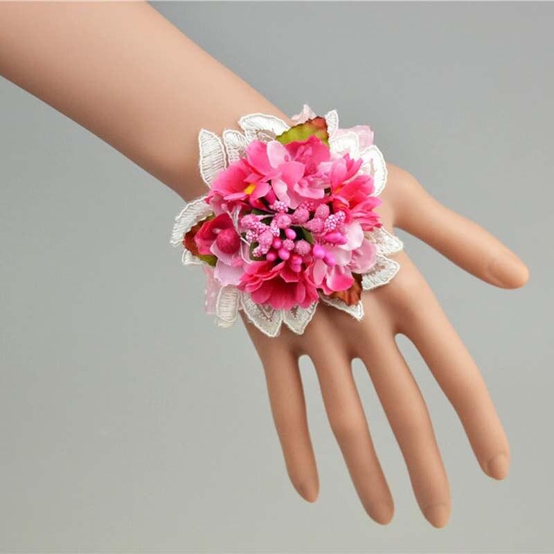 Aliexpress Buy Multicolor Artificial Silk Flower Bridesmaid Wrist CorsageElastic Prom BraceletWeddingHawaiian Party Bridal Supplies From