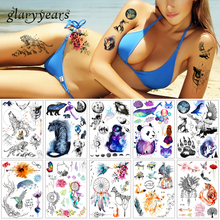 glaryyears 25 Designs 1 Sheet Watercolor Drawing Tattoo P Galaxy Flower Body Decal Temporary Tattoo Sticker for Women Men Unique