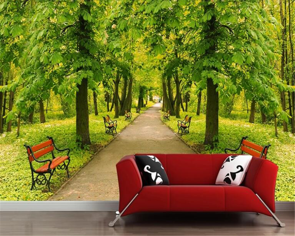 aesthetic wallpapers park landscape living chair boulevard fashionable beibehang mural tree