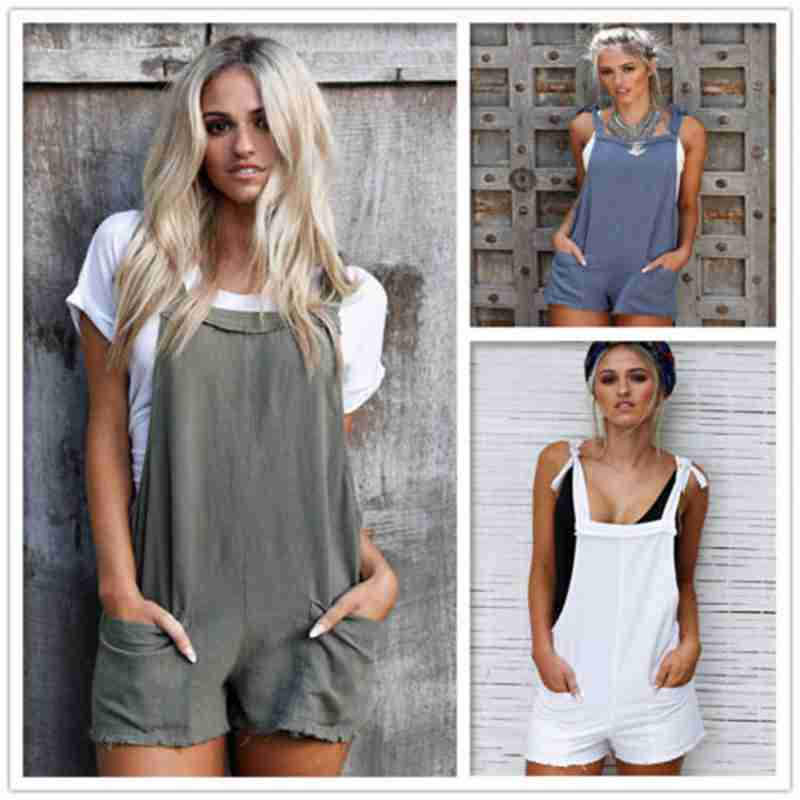 Women Summer Casual Loose Pockets Overalls Playsuit Bodycon Party   Jumpsuit   Cotton Romper Shorts