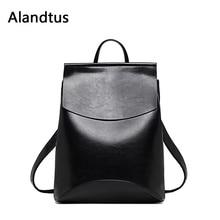 купить Alandtus Women Backpack 2019 Vintage Casual Leather Backpack For School Teenager Girls Travel Shoulder Bag Bagpack Mochila дешево