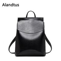 Alandtus Women Backpack 2019 Vintage Casual Leather Backpack For School Teenager Girls Travel Shoulder Bag Bagpack Mochila