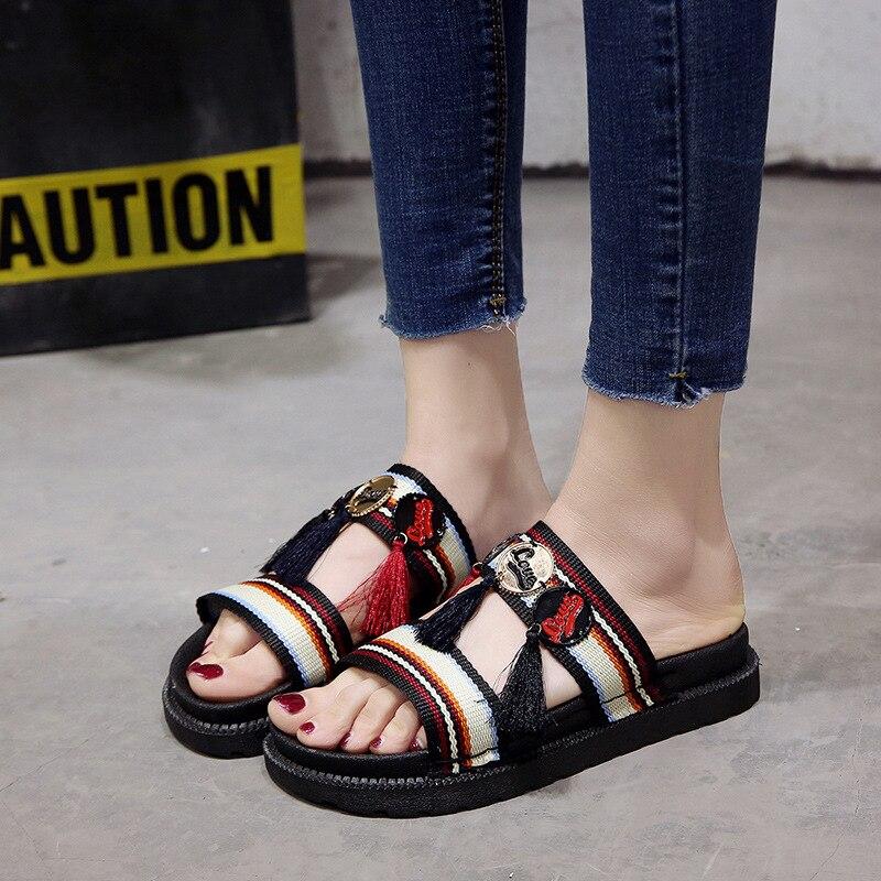 Fringe Femmes Plat Cross Style Flip Pantoufles Fond Style Flops De Ethnique Plage D'été Dame Chaussures Mou Casual horizontal Diapositives qqZw1rE