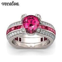 Vecalon Женский мужской Обручальное кольцо Красный 5А циркон Cz 925 Серебро обручальное кольцо Набор для женщин мужчин Камень ювелирные изделия
