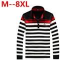 2016 Autumn Long-sleeve Polo Shirt Men Fashion Stripe Polo Men Turn-down Collar Long -Sleeve Shirt Plus Size 8XL 7XL 6XL 5XL 4XL