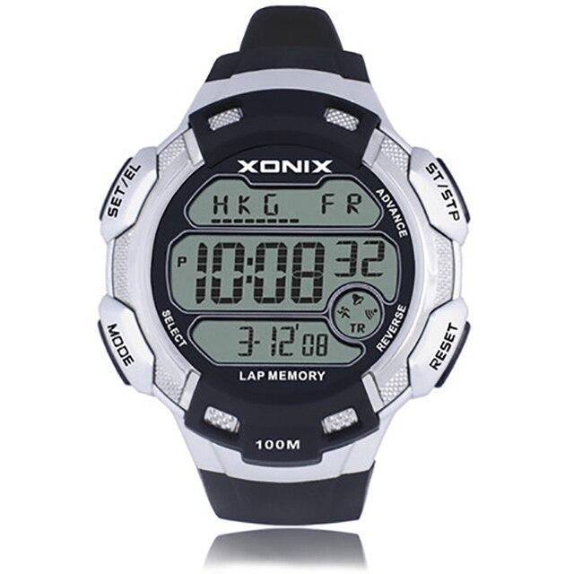 XONIX Большой циферблат цифровые часы мужчин, 100 М Водонепроницаемый почасовой сигнал Тревоги часы, мир Множественный Часовой пояс Открытый спортивные часы мужчины