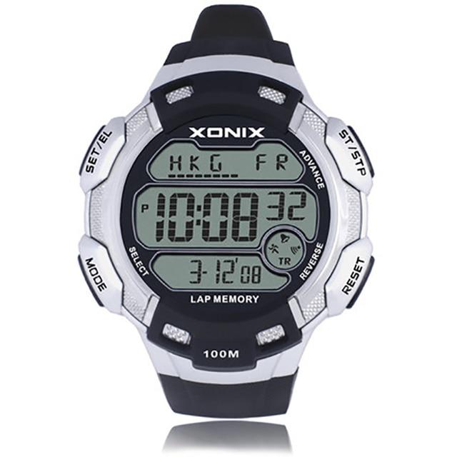 XONIX Big dial digital watch men , 100M Waterproof Hourly chime Alarm watch , World Multiple Time Zone Outdoor sport watch men