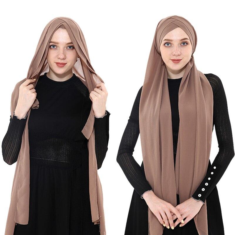 2019 femmes musulman en mousseline de soie instand hijab écharpe femme musulman prêt à porter hijabs en mousseline de soie sous écharpe cap foulard été