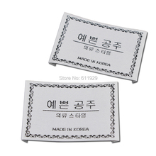 Free shipping custom clothing satin woven labels/overcoat feather dress embroidered tags/garment printed labels 1000 pcs a lot