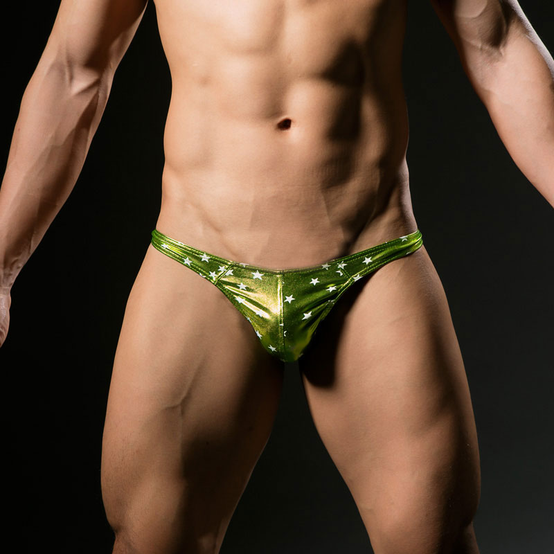 Sexy Men Faux Leather G-string Shiny Stars Printed Sexy Briefs Low Rise Waist Thongs Underwear Thong Gay Briefs Dance Wear FX010