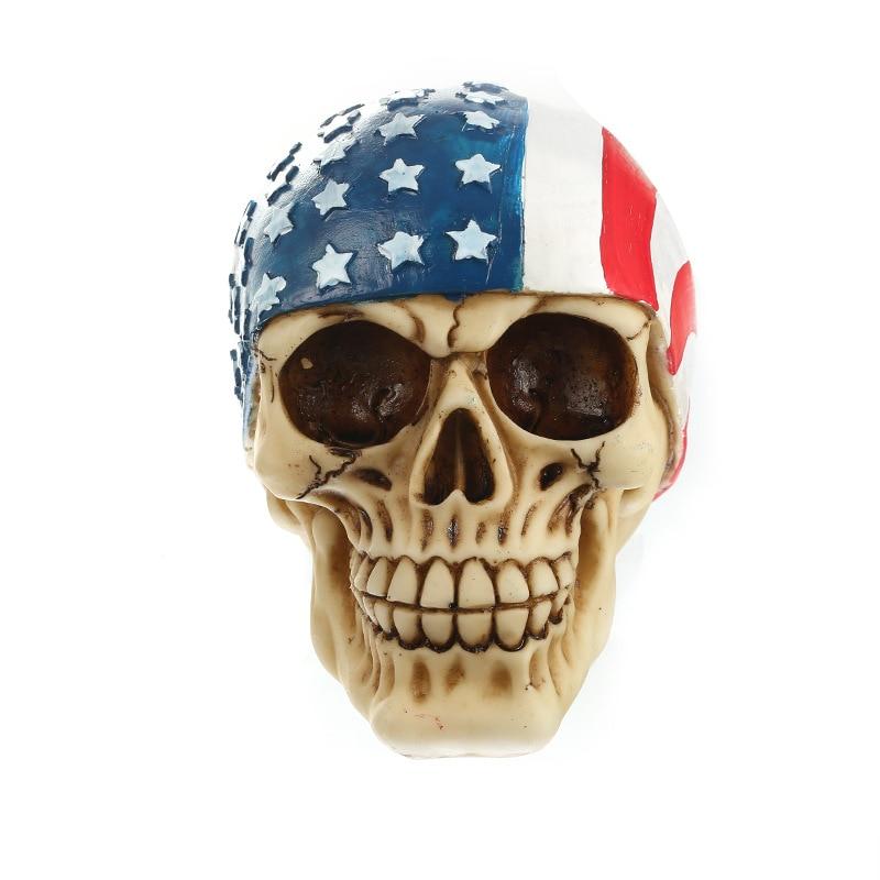 4. července Americká vlajka Pryskyřičné sochy Sochařství Dekorativní lidská lebka Replika vlastenecká Kreativní lidská hlava Model Soška