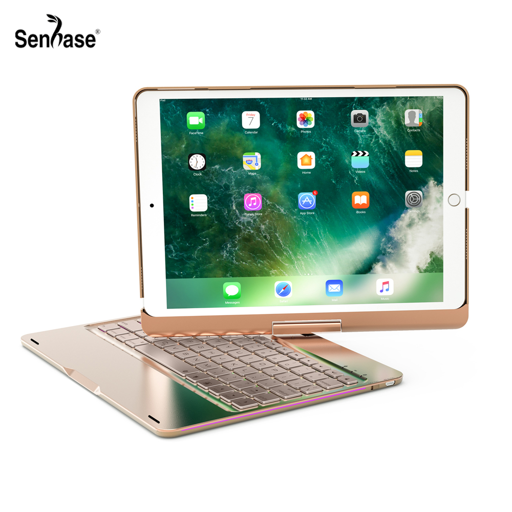 360 Degree Rotable Bluetooth Keyboard 7 Colors Backlit Case Cover For Apple iPad 9.7 2017 2018 Air 2 5 6 Pro 9.7