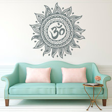 Religious OM Mandala Flower Yoga Wall Sticker Home DIY Room Decoration Poster Bohemian Living Decor Mural NY-224