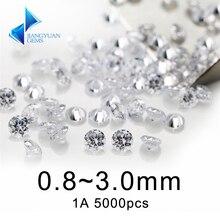 5000 stücke 1A 0,8 ~ 3mm weiß lose zirkonia steine perle runde cut lose cubic zirkon stein