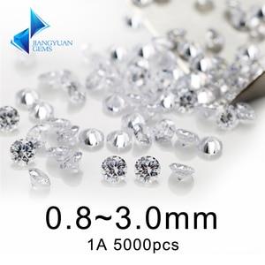 Image 1 - 5000pcs 1A 0.8 ~ 3mm לבן loose מעוקב zirconia אבנים חרוז עגול לחתוך רופף מעוקב זירקון אבן