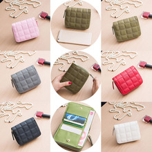 Women Short Wallets PU Leather Female Plaid Purses Nubuck Card Holder Wallet Small Zipper Wallet With Coin Purse WML99
