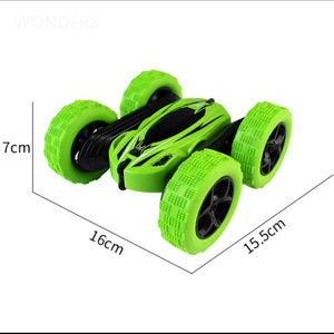 Image 4 - 2.4Ghz Remote Control Cars Stunt Rc Car High Speed Flashing 3D Flip roll Green & Blue Electric Race Double S Toys Christmas gift