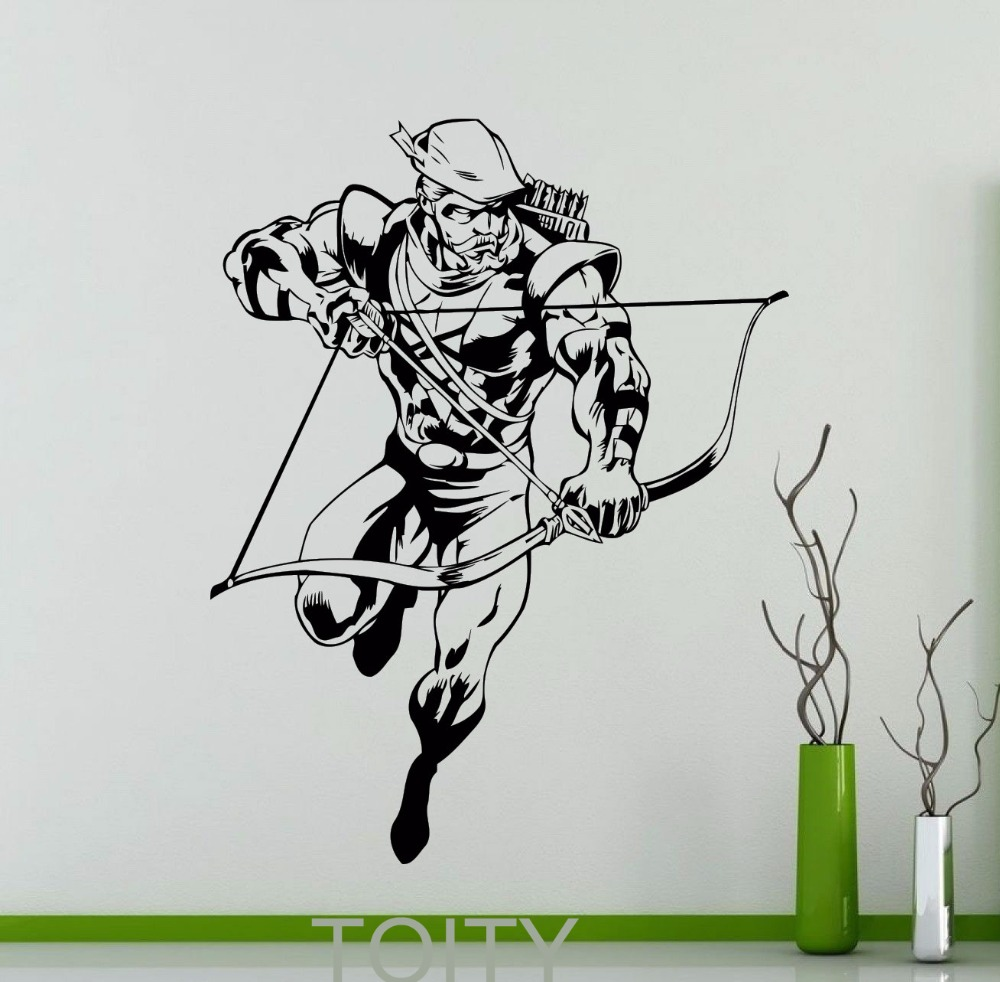 Green arrow wall decal superhero dc marvel comics vinyl sticker green arrow wall decal superhero dc marvel comics vinyl sticker home kids boy room interior decoration nursery art mural in wall stickers from home garden amipublicfo Gallery