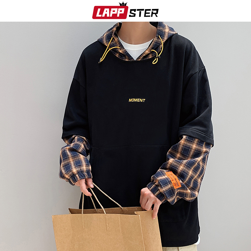 LAPPSTER Men Streetwear Patchwork Hoodies 2020 Hip Hop Plaid Fake Two Pieces Hooded Hoodies Harajuku Sweatshirts Black Hoodie