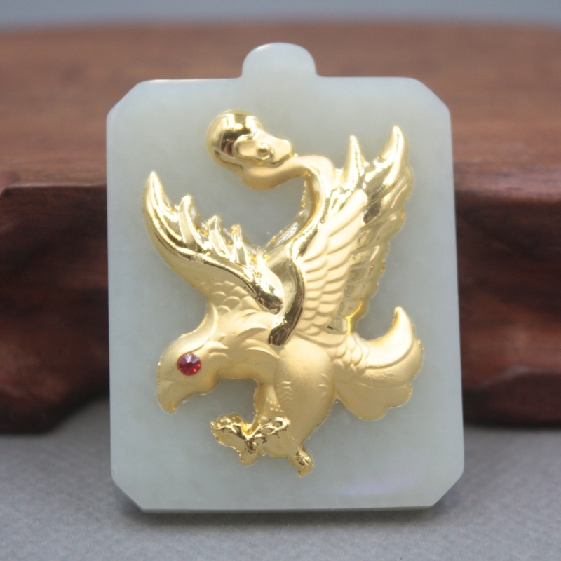 New 24K Yellow Gold Natural Jadeite Jade Women Men Eagle Square Bless Pendant 48x35mm