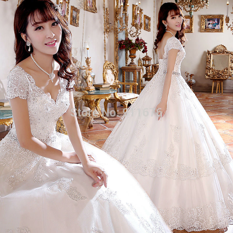 New Ball Gowns Short Cap Sleeve Wedding Dresses Appliques