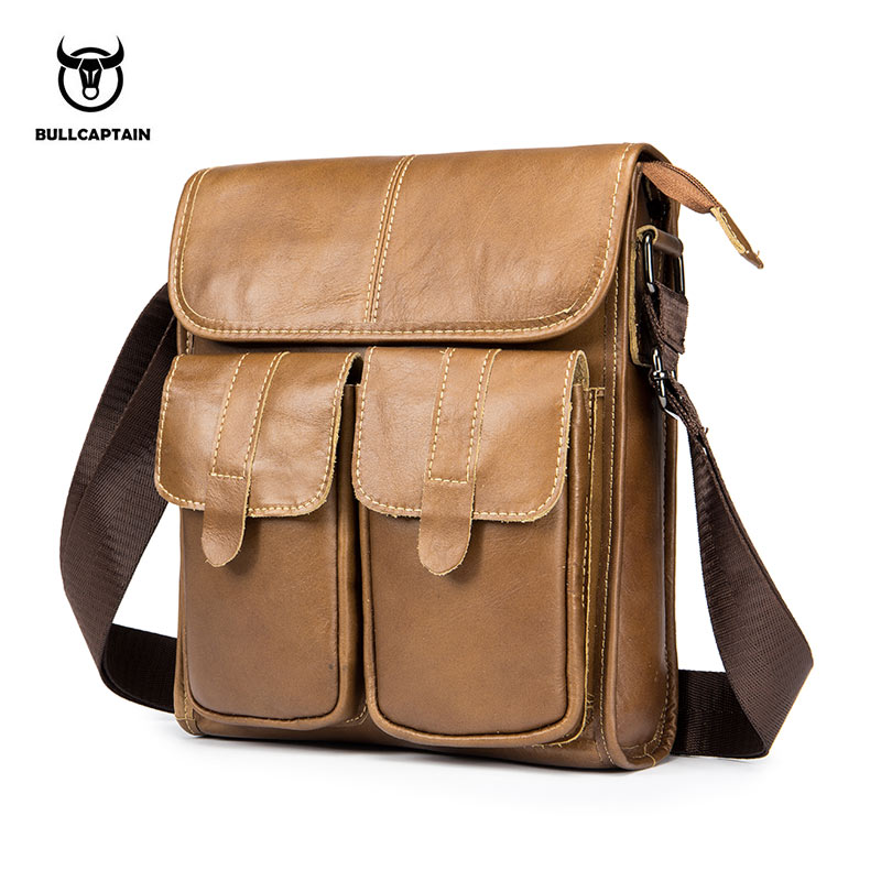 все цены на BULLCAPTAIN Genuine Leather Shoulder bag Men Crossbody Bags Small famous Brand Designer Male Messenger Bags Men briefcase