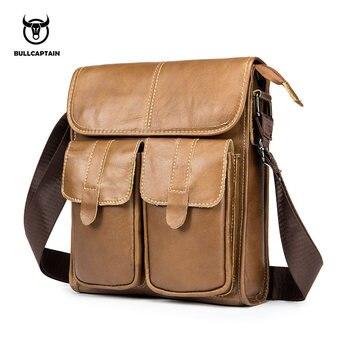 BULLCAPTAIN Hakiki Deri omuzdan askili çanta Erkekler Crossbody Çanta Küçük ünlü Marka Tasarımcısı Erkek postacı çantası Erkek evrak çantası