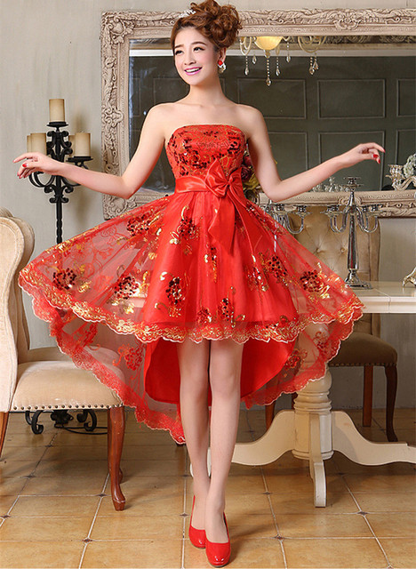 New style strapless gold sequins flower red dress front short back long  women prom Dress size 2-12 8af309cb9403
