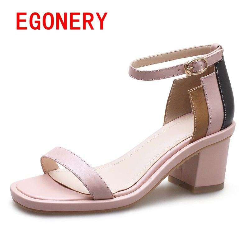 EGONERY women new sandals summer sandals women 2018 two color sandals square heel casual heels height 6.5 cm cover heel shoes new women sandals low heel wedges summer casual single shoes woman sandal fashion soft sandals free shipping