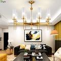 Современные золотые металлические светодиодные люстры  освещение  длинное стекло  для гостиной  светодиодные подвесные люстры  светильник...