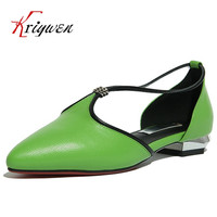 Wholesale 2017 Spring New Fashion Pumps Cow Leather Low Heels Green Shoes For Bridal Mixed Color