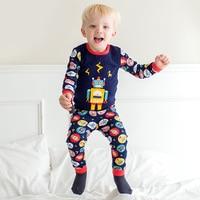 1 Sets Children Pajamas Cartoon Robot Pattern Pajamas Autumn Winter Wear Home Suits Cartoon Long Sleeved