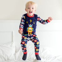 1 Sets Children Pajamas Cartoon Robot Pattern Pajamas Autumn Winter Wear Home Suits Cartoon Long Sleeved