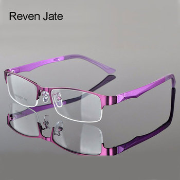 Reven Jate Half Rimless Eyeglasses Frame Optical Prescription Semi-Rim Glasses Frame For Women's Eyewear Female Armacao Oculos reven jate ej85351 spectacles optical fashion titanium eyeglasses frame for men eyewear full rim glasses with 3 optional colors