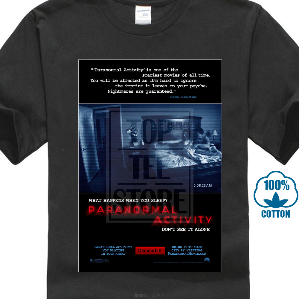 Paranormal Activity Cool Horror Cult Classic Movie Poster Fan T Shirt Round Neck Best Selling Male Natural Cotton Shirt image