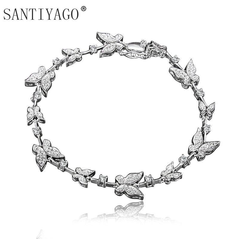 High Level White Gold Plating Butterfly Charm Bracelet for Women Wedding Engagement Butterfly Bracelet Women delicate alloy butterfly cuff bracelet for women