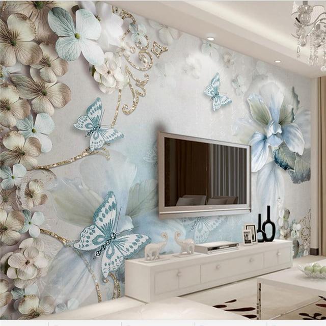 beibehang Custom wallpaper beautiful 3d photo mural Mediterranean flowers butterfly jewelry TV wall background 3d wallpaper